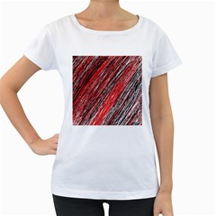 Red and black elegant pattern Women s Loose-Fit T-Shirt (White)