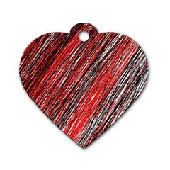 Red and black elegant pattern Dog Tag Heart (One Side)
