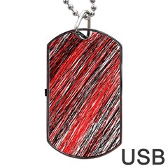 Red and black elegant pattern Dog Tag USB Flash (Two Sides)