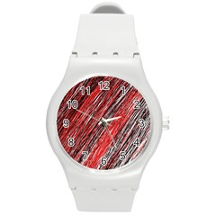 Red and black elegant pattern Round Plastic Sport Watch (M)