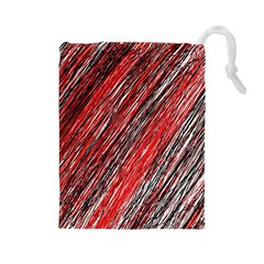 Red and black elegant pattern Drawstring Pouches (Large)