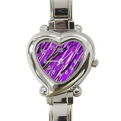 Purple pattern Heart Italian Charm Watch