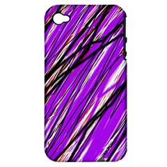 Purple Pattern Apple Iphone 4/4s Hardshell Case (pc+silicone)
