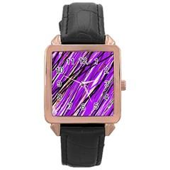 Purple pattern Rose Gold Leather Watch