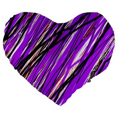 Purple pattern Large 19  Premium Flano Heart Shape Cushions