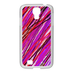 Purple pattern Samsung GALAXY S4 I9500/ I9505 Case (White)