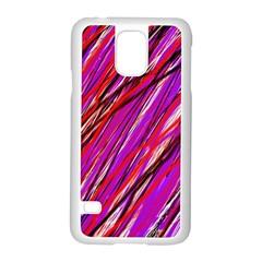 Purple pattern Samsung Galaxy S5 Case (White)