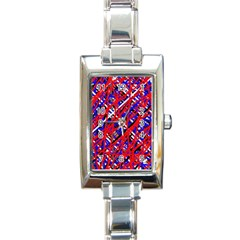Red and blue pattern Rectangle Italian Charm Watch