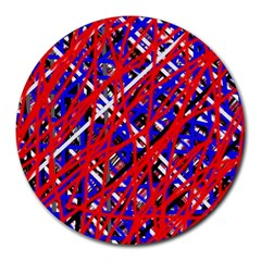 Red and blue pattern Round Mousepads