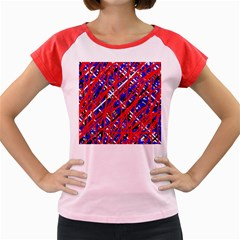 Red and blue pattern Women s Cap Sleeve T-Shirt