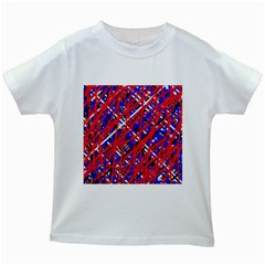 Red and blue pattern Kids White T-Shirts