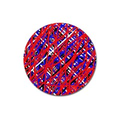 Red and blue pattern Magnet 3  (Round)