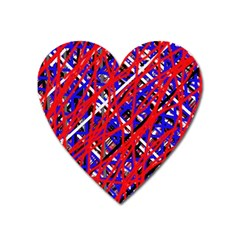 Red and blue pattern Heart Magnet