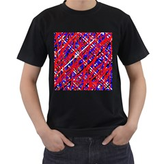 Red and blue pattern Men s T-Shirt (Black) (Two Sided)