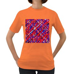 Red and blue pattern Women s Dark T-Shirt