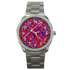 Red and blue pattern Sport Metal Watch