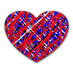 Red and blue pattern Heart Mousepads