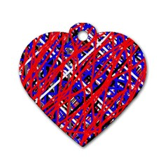 Red and blue pattern Dog Tag Heart (One Side)