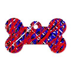 Red and blue pattern Dog Tag Bone (Two Sides)