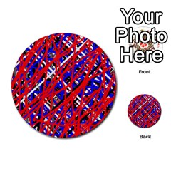 Red and blue pattern Multi-purpose Cards (Round)