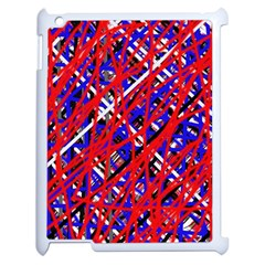 Red and blue pattern Apple iPad 2 Case (White)