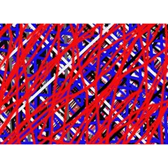 Red and blue pattern Birthday Cake 3D Greeting Card (7x5)