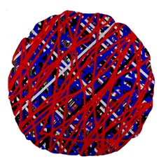 Red and blue pattern Large 18  Premium Round Cushions