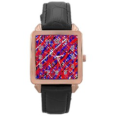 Red and blue pattern Rose Gold Leather Watch