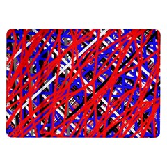 Red and blue pattern Samsung Galaxy Tab 10.1  P7500 Flip Case