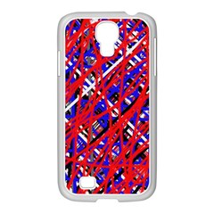 Red and blue pattern Samsung GALAXY S4 I9500/ I9505 Case (White)