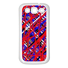 Red and blue pattern Samsung Galaxy S3 Back Case (White)