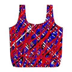 Red and blue pattern Full Print Recycle Bags (L)
