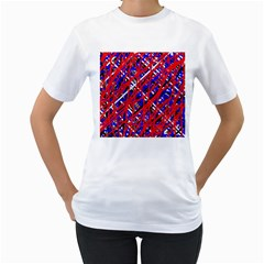 Red and blue pattern Women s T-Shirt (White)