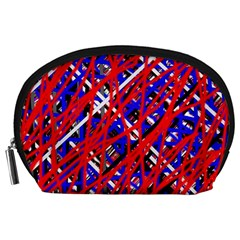 Red and blue pattern Accessory Pouches (Large)