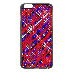 Red and blue pattern Apple iPhone 6 Plus/6S Plus Black Enamel Case