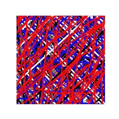 Red and blue pattern Small Satin Scarf (Square)