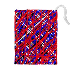 Red and blue pattern Drawstring Pouches (Extra Large)