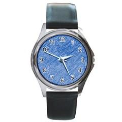 Blue pattern Round Metal Watch