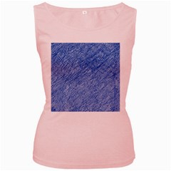 Blue pattern Women s Pink Tank Top