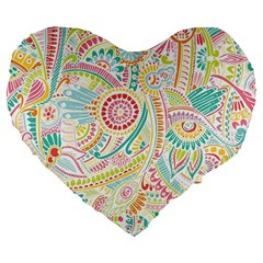 Hippie Flowers Pattern, pink blue green, zz0101 Large 19  Premium Flano Heart Shape Cushion
