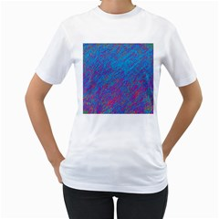 Blue pattern Women s T-Shirt (White) (Two Sided)