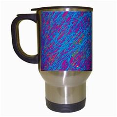 Blue pattern Travel Mugs (White)
