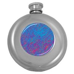 Blue pattern Round Hip Flask (5 oz)