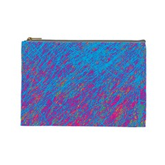 Blue pattern Cosmetic Bag (Large)