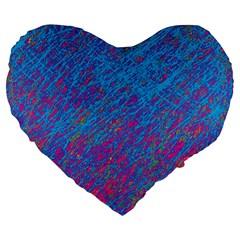 Blue pattern Large 19  Premium Flano Heart Shape Cushions