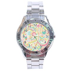 Hippie Flowers Pattern, pink blue green, zz0101 Stainless Steel Analogue Watch