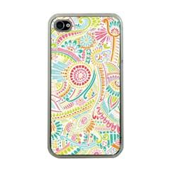 Hippie Flowers Pattern, pink blue green, zz0101 Apple iPhone 4 Case (Clear)