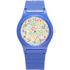 Hippie Flowers Pattern, pink blue green, zz0101 Round Plastic Sport Watch (S)