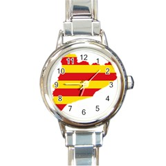 Flag Map Of Catalonia Round Italian Charm Watch