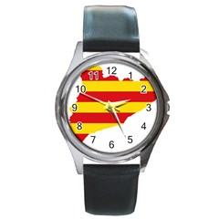 Flag Map Of Catalonia Round Metal Watch